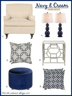 Interior Design Boards, Color Trend for 2014, Navy Home Décor, Home Trends, e-decorating, Online Interior Design Services, Shop this Look here, www.stellarinteriordesign.com/navy-and-cream-decor/