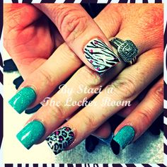 Teal nails with zebra and cheetah print