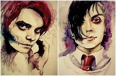 Frank and Gerard Way watercolor