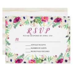 Romantic Cream Purple Watercolor Floral RSVP Card - rsvp gifts card cards diy unique special