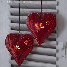 Hanging Heart Tealight Holder-Red