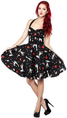 HELL BUNNY FOREVER DEAD DRESS The Forever Dead dress by Hell Bunny is a classic halter silhouette with a zombie twist! This ghoulishly cute dress has an allover print featuring zombie pinups, stitched hearts, stars and bows. If you've ever tried on a Hell Bunny dress then you know you're in for a treat with this one! Smocked panels in the back bodice and sturdy straps make this perfect for any pinup! $48.00 #hellbunny #dress #zombie #pinup #halloween