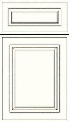 Sheffield 5pc Maple recessed panel cabinet door in Alabaster smoke glaze