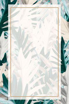 Rectangle pink gold frame on metallic palm leaf pattern background illustration | premium image by rawpixel.com / HwangMangjoo