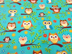 Aqua Owl Print Fabric, Novelty Owl Print, Sewing Material, Quilting Notions, 1 yard + #stitchknit