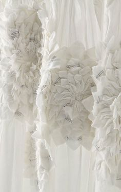 Fabric Manipulation - white fabric flower applique detail; textured embellishment; textiles; sewing inspiration // Anthropologie
