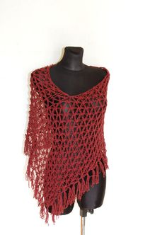 Summer Poncho in Rust Red Oxblood Crochet Poncho by aboutCRAFTS