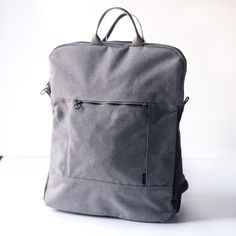 Backpack no.2 - in Heathered Gray recycled canvas