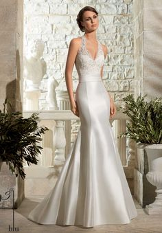 Wedding Gown 5311 Larissa Satin with Crystal Beading on Alencon Lace. Our Diamond White sample is a size 10.