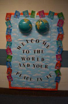 Back to school bulletin board World