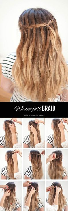 10 Steps to a Pretty Waterfall Braid | Pinterest | Medium long hair ...