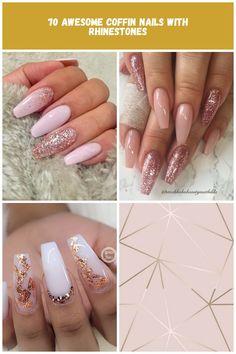 Light pink coffin nails with rose gold glitter Rose Gold nails Rose Gold Nails, Rose Gold Glitter, Pink Coffin, Coffin Nails, Acrylic Nail Designs, Baking, Easy, Long Fingernails, Bakken