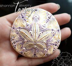 Hand Painted Sand Dollar Purple & Gold - Beach Art - Ocean Art - Sand Dollar…