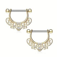 14G Pair of Handcuff Dangle Nipple Shields with Barbells
