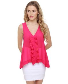 Through the Ruffle Patch Fuchsia Pink Tank Top..drawn to this top. idk why.