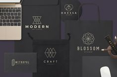 100 Geometric Logos Set by Zeppelin Graphics on @creativemarket