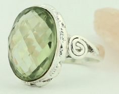 7.99ctw Green Oval Amethyst Solitaire Ring Size 6 Sterling Silver Jewelry