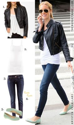 f6e773533ba6 Done- Dress by Number  Kristin Cavallari s Leather Jacket and Mint Flats -  The Budget