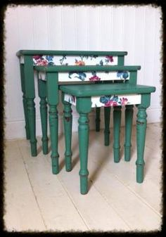 Beautiful country green nest of tables with floral decoupage, distressed & waxed ready for their forever home.