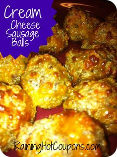 Cream Cheese Sausage Balls Recipe - next time less bisquick.  they were so bland and even dry.. we made a buffalo bbq sauce to go on top of them which made them taste much better