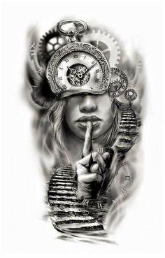 Clock face half sleeve custom tattoo design idea by Tattoo Tailors - Ostern Clo. - Clock face half sleeve custom tattoo design idea by Tattoo Tailors – Ostern Clock face half slee - Half Sleeve Tattoos Designs, Tattoos For Women Half Sleeve, Best Sleeve Tattoos, Tattoo Designs For Women, Tattoo Half Sleeves, Back Tattoo Women Full, Best Leg Tattoos, Thigh Tattoos, Leg Sleeves