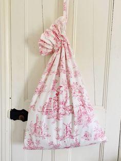 French Vintage Toile De Jouy Laundry Bag