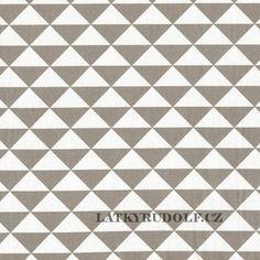 Látka Trojúhelníky šedobéžové 101208 > šíře 160cm