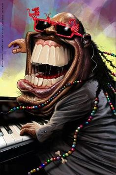 This caricature of musician, Stevie Wonder, exaggerates his smile. He is not only known for his talents but also his smile and so the artist has exaggerated his mouth to tell of his personality in a humorous manner. Cartoon Faces, Funny Faces, Cartoon Art, Cartoon Characters, Stevie Wonder, Caricature Artist, Caricature Drawing, Funny Caricatures, Celebrity Caricatures