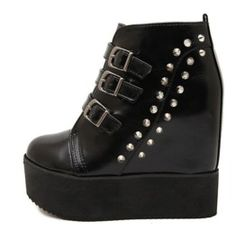 Stylish Rivets Buckle Straps Side Zipper Ankle Boots