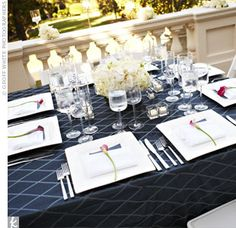 modern square plates in ivory + basic white flowers atop navy linens Reception Table, Wedding Reception Decorations, Reception Ideas, Wedding Decor, Cream Wedding, Blue Wedding, Table Centerpieces, Flower Centerpieces, Blue White Weddings