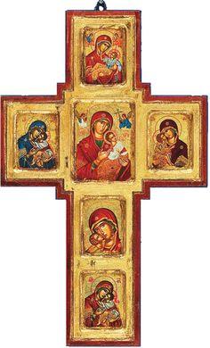 Greek Orthodox Cross | Theotokos Wall Cross Hand-Painted Greek Orthodox Icon