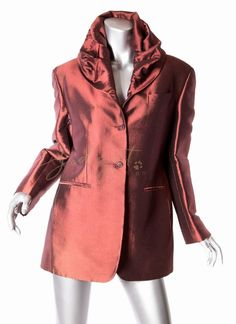 Romeo Gigli Italy Iconic Claret Hooded Jacket 1989 Collection Size 44  | eBay
