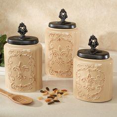 Fioritura Ceramic Kitchen Canister Set Elegant Kitchens Cool Pantry Decor