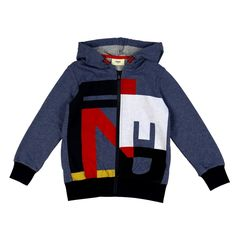 Boys Blue Hoodie with Colourful Logo Print and Navy Trimming. Available now at www.chocolateclothing.co.uk