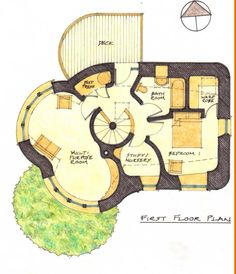 First floor plan of cob house