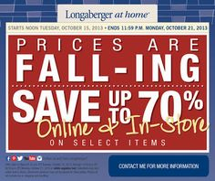 Prices Are Fall-ing At Longaberger at home®! * This week only, discounts up to 70% on select items!