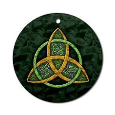 A classic Celtic Trinity Knot symbol, in my own original Art of FoxVox design, common in both pagan and Christian cultures, in gold and green with Celtic knotwork accents – reflects meanings of unity and interconnectedness!    This original Celtic art Yule/Christmas tree ornament has a patterned green background and is printed on the front of a handmade circle of porcelain…
