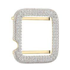 Custom Lab Diamonds Iced Out 14k Gold Finish Sterling Silver 38mm Apple Watch Series1 Princess Cut Bezel