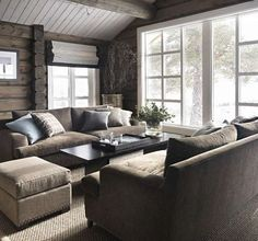 Love the furniture arrangement by the big window Cabin Homes, Log Homes, Cabins And Cottages, Furniture Arrangement, Cozy House, Interior Design Living Room, Chalet Interior, Kitchen Interior, Home And Living
