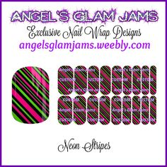 Neon Stripes Jamberry Nail Wraps by Angel's Glam Jams! ORDER HERE: http://angelsglamjams.weebly.com/neon-stripes.html  #nailwraps #jamberry #nas #nailartstudio #neon #stripes #instantdownload