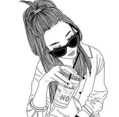 alternative, noir, dessiné, mode, suivre, fille, lunettes, grunge, cheveux, Starbucks, buton-tiran, Tumblr, blanc