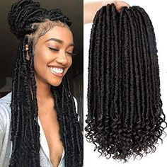 braid styles faux locs blonde Enjoy exclusive for Goddess Faux Locs Crochet Hair 16 Inch Straight Goddess Locs Curly Ends Synthetic Crochet Hair Braids Black online - Theperfectclothing Box Braids Hairstyles, Easy Hairstyles For Medium Hair, Braided Hairstyles For Black Women, Braids For Black Women, Braids For Black Hair, Straight Hairstyles, Dreads Black Women, Blowout Hairstyles, Havana Twist Hairstyles