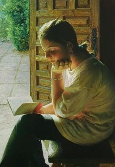 Painting by sister Isabel Guerra, a nun at the Cistercian monastery of Santa Lucia, Zaragoza in Spain. People Reading, Girl Reading Book, Reading Art, Woman Reading, Reading Books, Children Reading, I Love Books, Books To Read, Hyperrealism