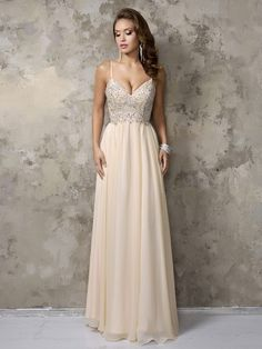 Shop Spaghetti Straps V-neck Champagne Chiffon Crystal Detailing Floor-length Ball Dress in New Zealand