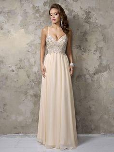 Spaghetti Straps V-neck Champagne Chiffon Crystal Detailing Floor-length Prom Dress