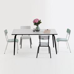 Table à manger 120 ou 160 cm formica Les Gambettes -Blanc&Noir : Decoclico