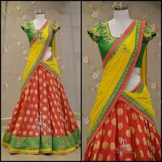 Your Official Guide to Find Best Half Saree Blouse Designs Lehenga Saree Design, Half Saree Lehenga, Lehnga Dress, Lehenga Designs, Saree Blouse Designs, Lehenga Gown, Pink Lehenga, Bridal Lehenga, Indian Fashion Dresses