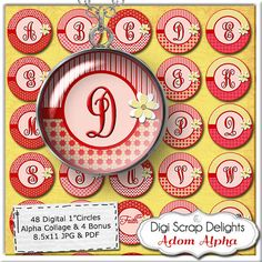 Pink Red Gold Alpha Collage  One Inch Circles by DigiScrapDelights, $3.25