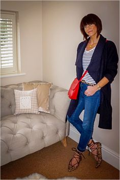 Styling a stripe tee with cropped denim, leopard print & a pop of red www.mymidlifefashion.com