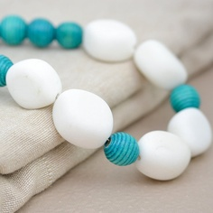 Chunky White Jade and Turquoise Wood Beaded Necklace on a Silver Chain.